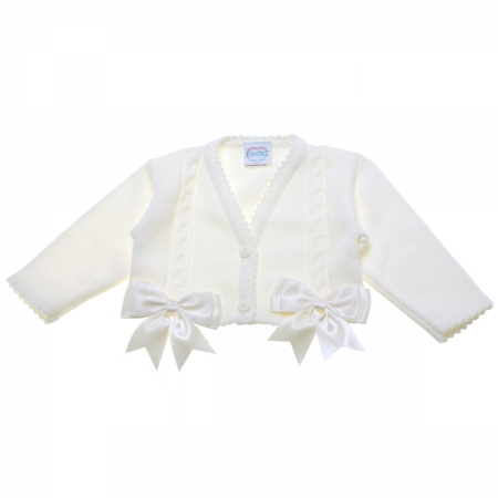 Baby Girls Ivory Cardigan Decorated By Double Bows