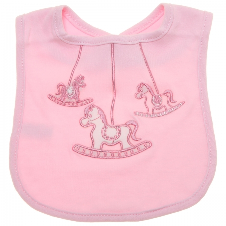 Baby Girls Soft Cotton Pink Bib With Pink Horses Embroidery