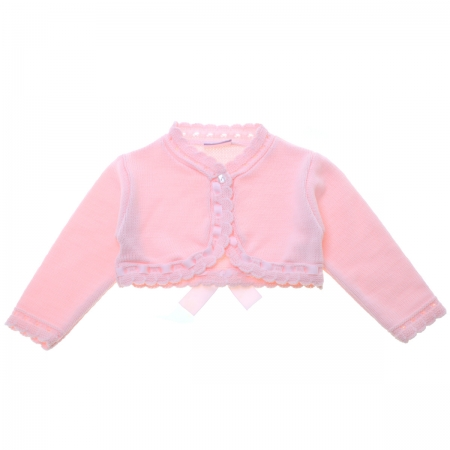 Baby Girls Pink Bolero Decorated By Ribbon And Bow
