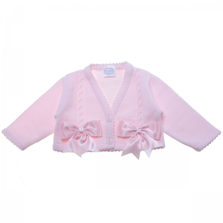 Baby Girls Pink Cardigan With Double Satin Bows