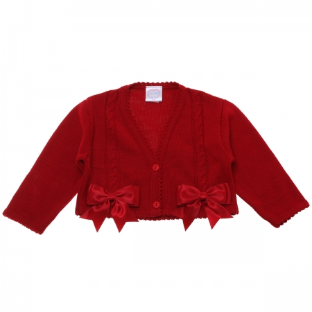 Baby Girls Red Cardigan Decorated By Double Bows