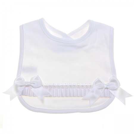 Baby Soft Cotton White Bib With White Bows