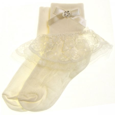 Chiffon lace with diamante girls ivory frilly socks