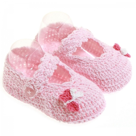 Baby Girls Cotton Crochet bootees in pink with pink butterfly