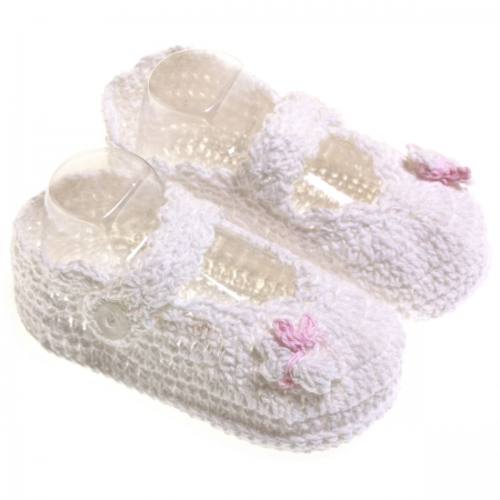 Crochet baby girls bootees in white with white butterfly