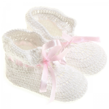 Cotton Crochet bootees in white with pink lace ribbon