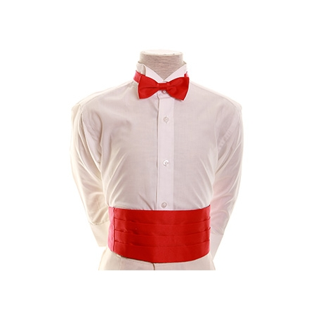 Boys cummerbund and bow tie set in red