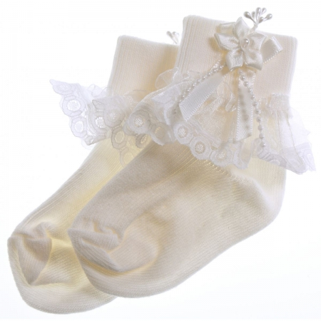 Elegance lace girls ivory frilly socks