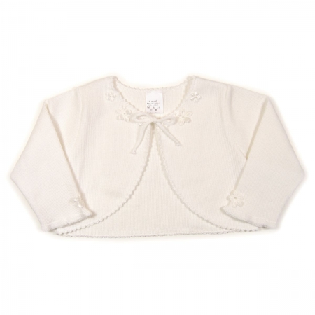 Baby girls cardigan in white with flowers decoration