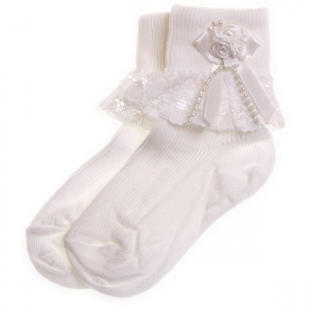 Flowers lace girls frilly socks in white