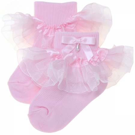 Baby Girls Pink Organza Frilly Socks With Bow And Bead