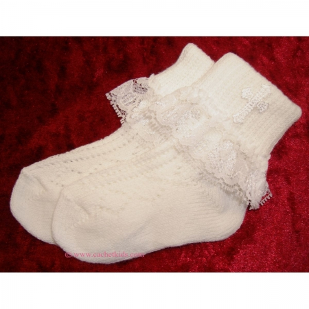 Baby girls christening socks with a cross white