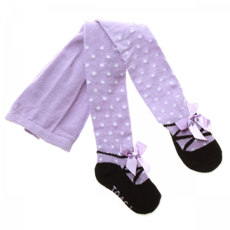 Baby Girls Lilac Tights Ballerina Pattern