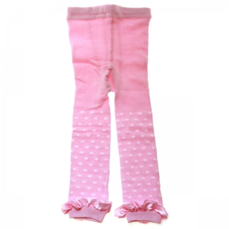 6120 Baby Girls Foot Less Tights In Pink White Polka Dots