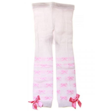 6120 Baby Girls Foot Less Tights In White Pink Bows