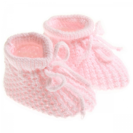 Newborn baby soft knitted booties in pink