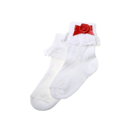 Frilly lace cotton rich socks with red bow and red rosebud