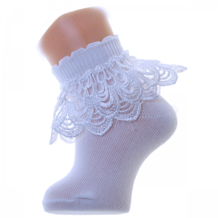 Pearl Shape Guipure Lace Girls Frilly White Socks