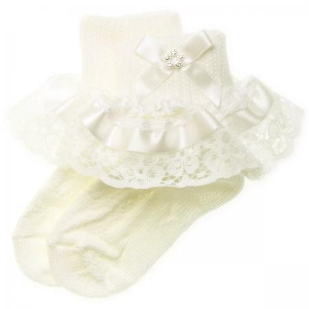b5f7ce8c5dab0 Ivory satin lace with diamante girls frilly ivory socks