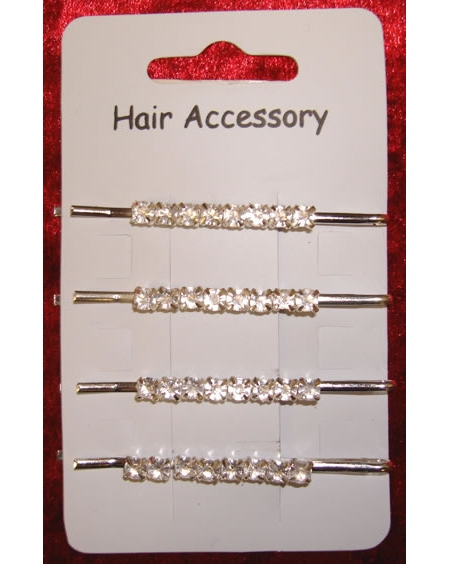 4 Hair clips set with diamantes in 1 style