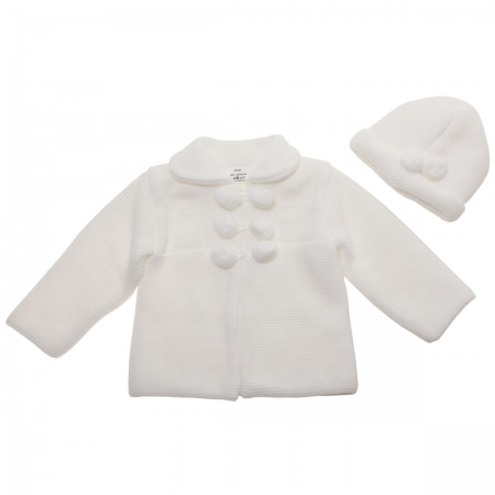 Baby White Knitted Coat With Hat Decorated by Pom Pom