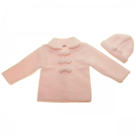 Baby Girls Knitted Pink Pom Pom Coat With Hat