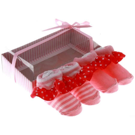 Cute baby girls pink white frilly sock shoes in gift pack