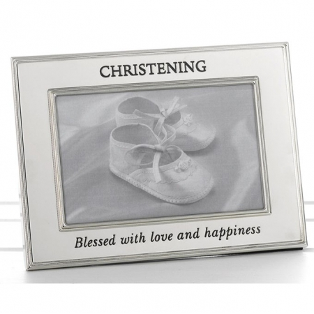 Polished Silver Christening Photo Frame
