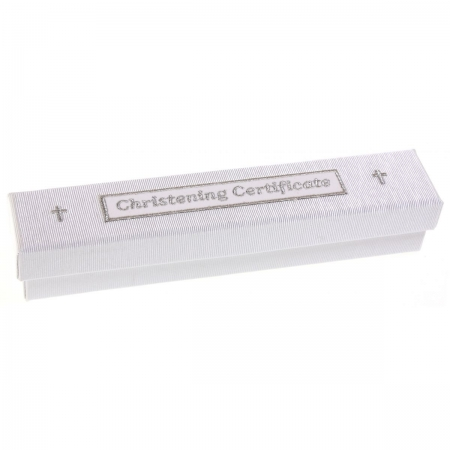 Baby soft christening certificate holder box with crucifixes