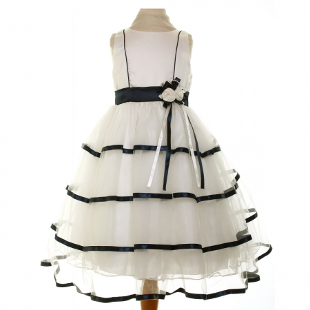 Special Occasions Girls Dress In Ivory And Navy