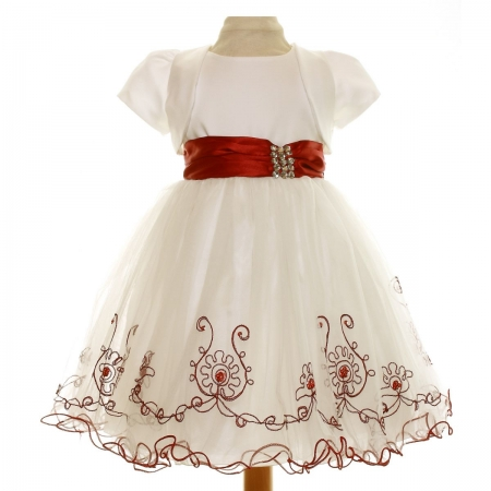 Girls Ivory Dress Burgundy Decorations