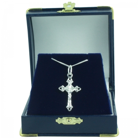 Communion Pendant Necklace Annulet Crucifix In Navy Gift Box