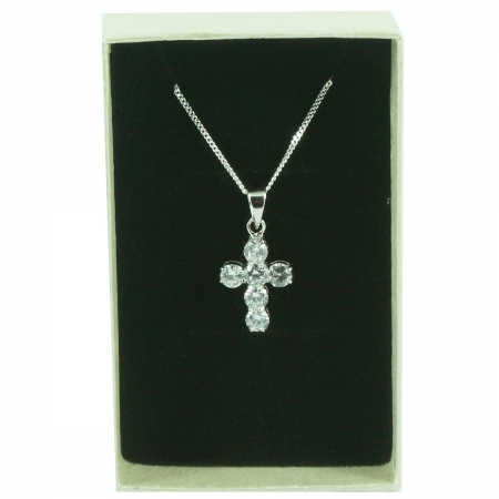 Cubic Zirconia Cross Communion Pendant Necklace In Gift Box