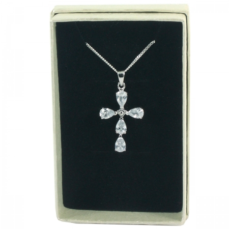 Pear Shape Cubic Zirconia Cross Communion Pendant Necklace In Gift Box