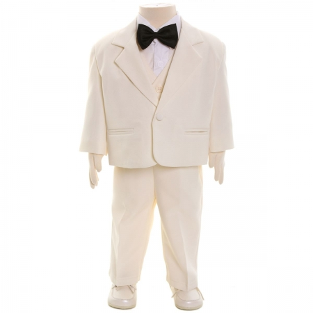 Baby Boys Wedding Or Christening Outfit Cream Ivory Suit Black Bowtie