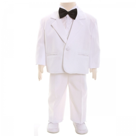 Baby boys white suit set with black bow tie 5 piece