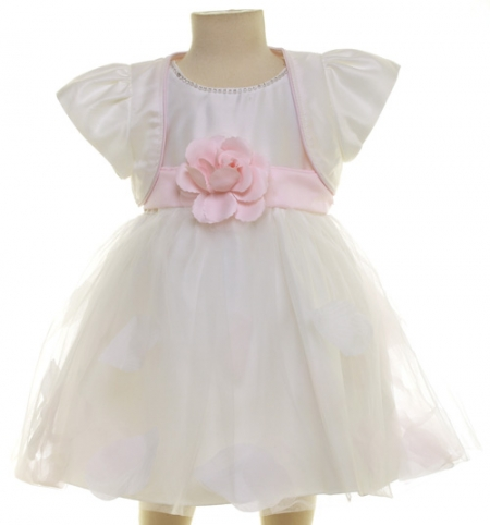 Pretty Ivory Dress With Pink Flower And Bolero