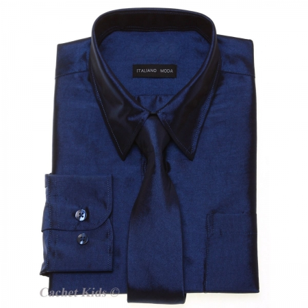 Boys Formal Shirt Boys Navy Shirt With Tie Silky Sheen Fabric