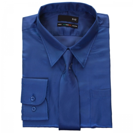 Boys Blue Shirt With Tie In Silky Sheen Fabric
