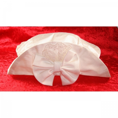 Little Darlings baby girls christening hat in ivory 100% silk
