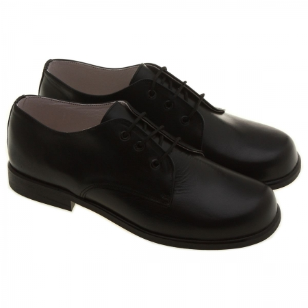 Hand made junior boys black leather shoes