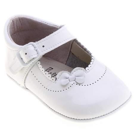 Baby Girls White Patent Pram Shoes With Flowers