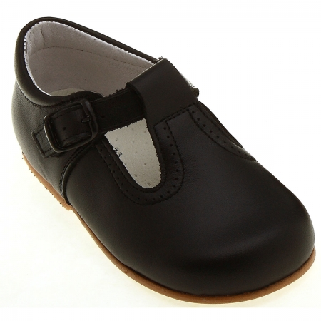 Baby First Walker black shoes in leather T Bar Design