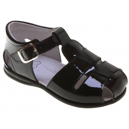 baby and toddler boys black patent sandles cachet