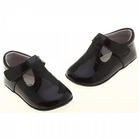 Hand made T bar baby black patent pram shoes