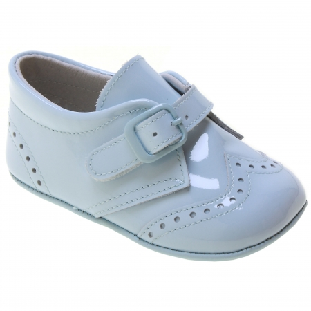 Baby Boy Blue Patent Brogue Pram Shoes