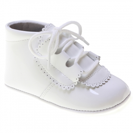 bb371bfc0eaca lace up baby boys white patent pram shoes spanish made 100% leather