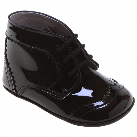 Baby Boys Black Patent Leather Pram Shoes Lace Up