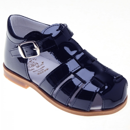 Boys Navy Patent Leather Roman Sandals By Spanish Leon Shoes