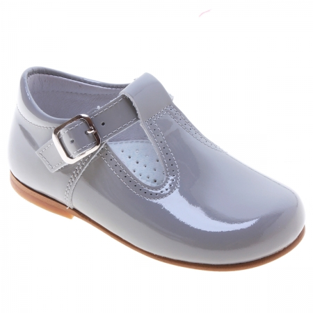 Toddlers Light Grey Ice Grey T Bar Patent Shoes